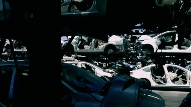 Old smashed cars at junkyard