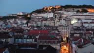 WS HA Old town buildings and Castle of Sao Jorge at dusk / Lisbon, Portugal