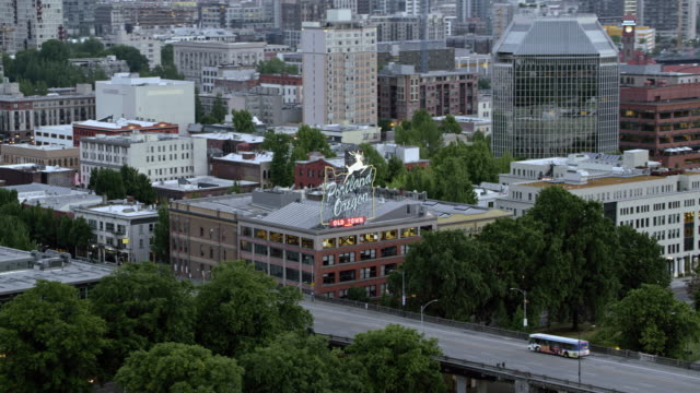 AERIAL Old Town Portland and building with White Stag sign