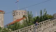Old Town Tower and Town Gate, Korcula Old Town, Korcula, Dalmatia, Croatia, Europe