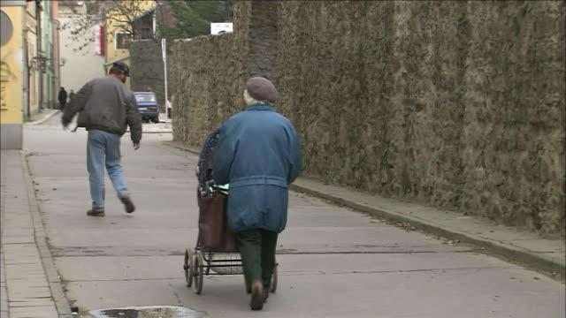 Old woman pushes pram along street, passing man with dog
