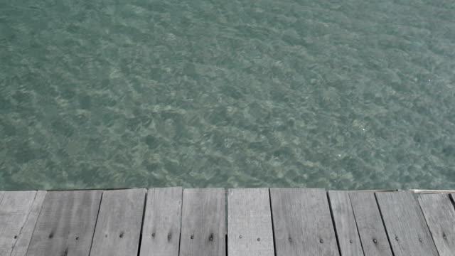 Old wooden bridge floor