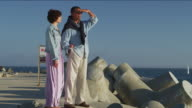 WS Older couple gazing at the ocean