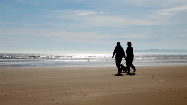 Older couple on beach in silhouette