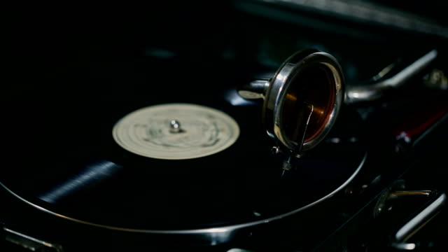 Old-fashioned Gramophone with record