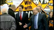 Nick Clegg campaigning arrives Asda supermarketrail ENGLAND Lancashire Oldham PHOTOGRAPHY * * Nick Clegg MP along with Elwyn Watkins and other...