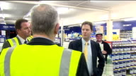 Nick Clegg visits Jewson warehouse ENGLAND Greater Manchester Oldham PHOTOGRAPHY** Nick Clegg MP out of car and greeted by Jewson warehouse managers...