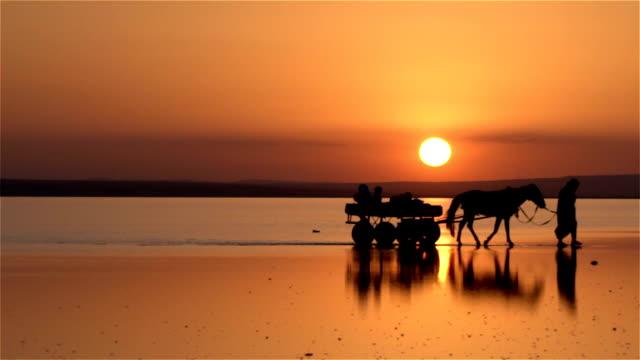 Oldman uitvoering zijn familie met paard wagen op het meer