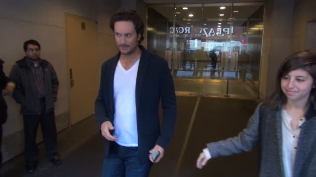 Oliver Hudson promoting 'Scream Queens' leaving the 'TODAY' show poses for photos with and signs for fans in Celebrity Sightings in New York