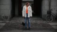 Olivia Faeh wearing Fur Jacket Vintage Shirt Pablo Tour Merch Jeans HM Trend Booties Alexander Wang Velvet Bag Saint Laurent during the Copenhagen...