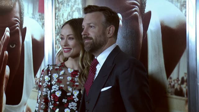 Olivia Wilde and Jason Sudeikis at 'Race' New York Special Screening at Landmark Sunshine Cinema on February 17 2016 in New York City