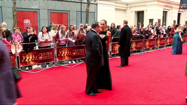 London EXT GVs Olivier Awards sign / Debbie Kurup interview SOT / Myleene Klass GVs / Allen Leech interview SOT / Rafe Spall interview SOT