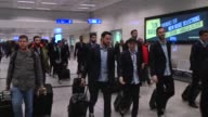 Olympiacos' team members arrive at Ataturk Airport in Istanbul Turkey on March 15 2017 Olympiacos will face Besiktas in their UEFA Europa League...