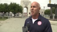 US Olympians gather at iconic Los Angeles Memorial Coliseum to celebrate the confirmation that the city will host the Games for a third time in 2028