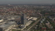 Olympiapark, Munich from above, BMW building, sunny, traffic, street