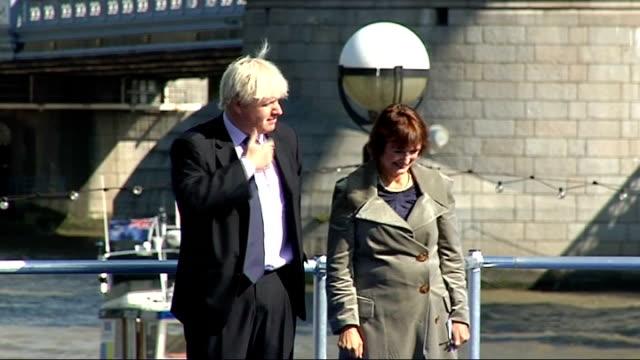 Olympic flags raised ENGLAND London City Hall EXT Boris Johnson Lord Sebastian Coe and Tessa Jowell MP along for ceremony to raise Olympic flags...