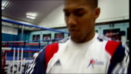 Olympic gold medal winning boxer Anthony Joshua honoured CUTAWAYS Sheffield INT Joshua posing for photocall in gym