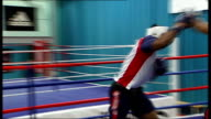 Olympic gold medal winning boxer Anthony Joshua honoured T08021234 Sheffield INT Various of Joshua sparring