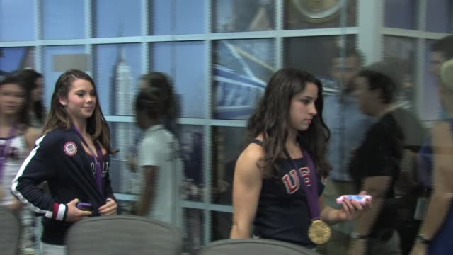 USA Olympic Women's Gymnasts at Empire State Bldg at Empire State Building on August 14 2012 in New York New York