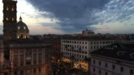 Ominous clouds behind the 5th century Papal Basilica of Santa Maria Maggiore, Rome