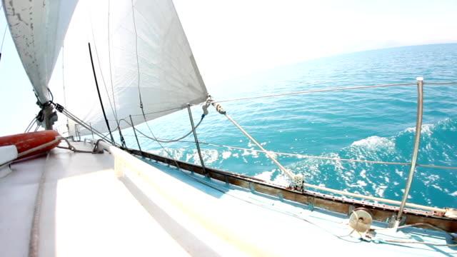 on a yacht sailing