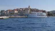 On board boat approaching Korcula, Korcula Island, Dalmatia, Croatia, Europe