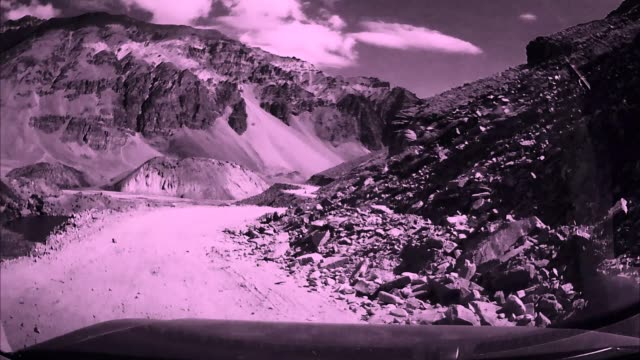On board camera view : Changing transitions with dangerous mountain valley