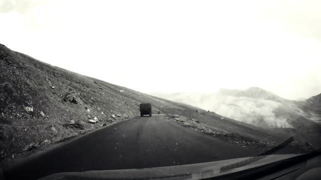 On board Camera view : Speedy car on Mountain Road