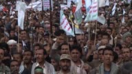On Friday thousands of supporters of the Shiite Huthi rebels took to the streets of Yemen's capital Sanaa which is still in rebel hands to protest...