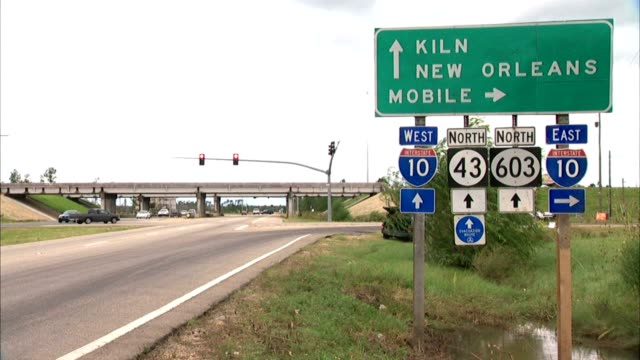 CU KILN on highway directional sign ZO WS Freestanding sign KILN NEW ORLEANS MOBILE Interstate 10 I10 West East North 43 North 603 PAN WS Highway...