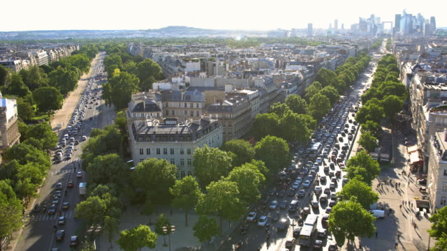 On top of Arc de Triomphe, looking down at traffic