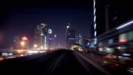 Onboard the Dubai Metro during night