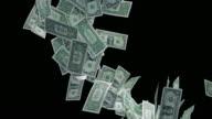 SLO MO One dollar bills falling down on black background