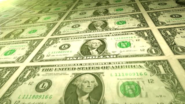 One Dollar Bills looping. HD