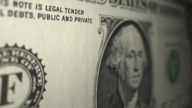 US One dollar note close up dolly shot