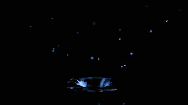 SLO MO one droplet falling onto the black water surface
