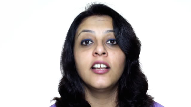One Indian businesswoman talking on white background