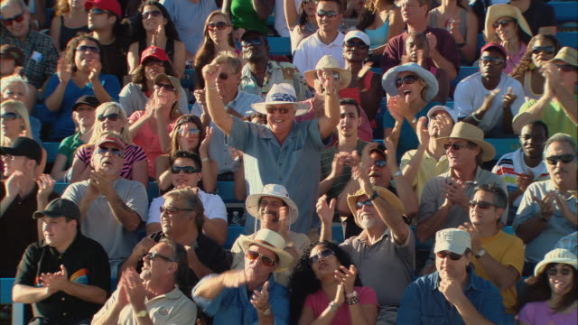 HA WS One man in diverse crowd jumping up and cheering in bleachers / Homestead, FL, USA