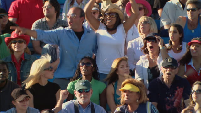 HA WS One woman in diverse crowd jumping up and cheering in bleachers / Homestead, FL, USA