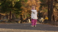A one year old baby walking inside of Yosemite National park with colorful trees and sky around her.