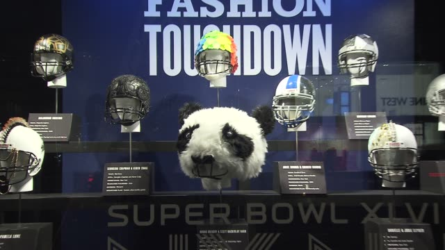 ATMOSPHERE oneofakind Super Bowl XLVIII helmets at Bloomingdale's Kicks Off Super Bowl XLVIII with the CFDA and NFL at Bloomingdale's 59th Street...