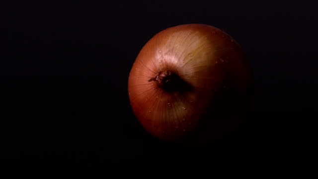 Onion spinning against black background