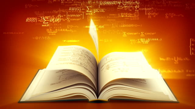 Open book with mathematical formulas flying off. Brown version.