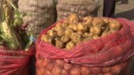 Open sack of potatoes next to sack of corn/maize, Villa De Leyva market, Villa De Leyva, Boyacá department, Colombia