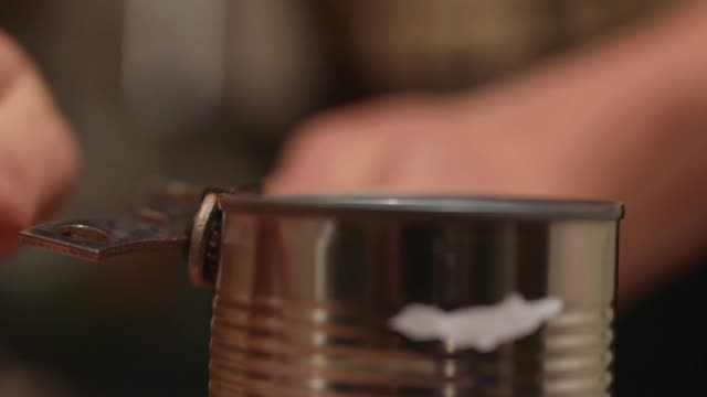 Opening Tin Can of Food, Close Up