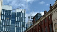 MS, Opera House and modern office building under construction, Quay street, Manchester, England