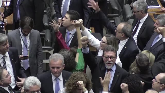 Opposition deputies obstruct the Brazilian Congress vote over corruption charges against president Michel Temer by refusing to stay for the plenary...