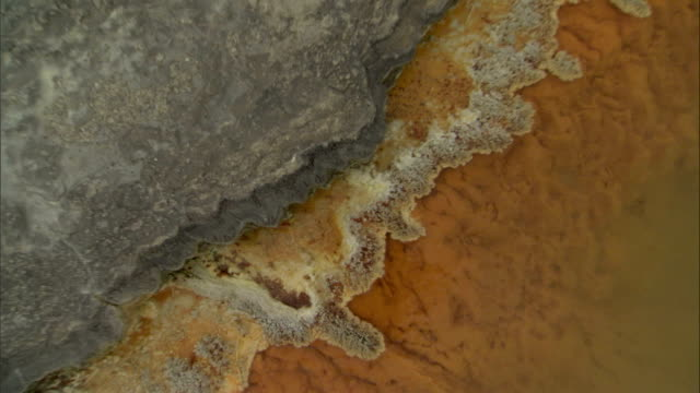 Orange and yellow mineral deposits border a thermal pool. Available in HD.