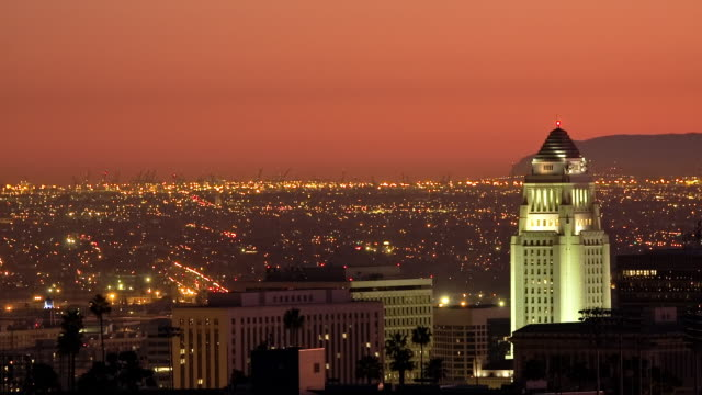 T/L, WS, Orange sky above Los Angeles at dusk, Long Beach harbor in background, California, USA