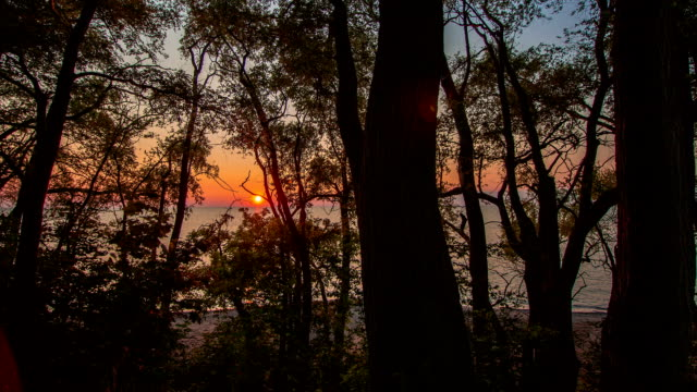 Orange Sunset on Lake Erie - Time Lapse